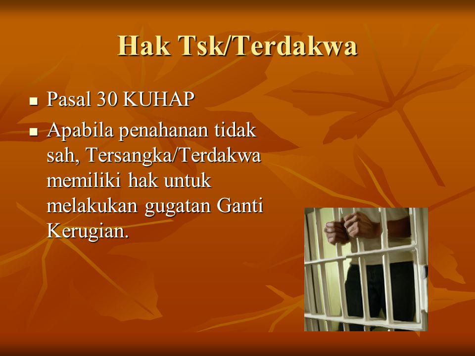 Hak Tsk/Terdakwa Pasal 30 KUHAP
