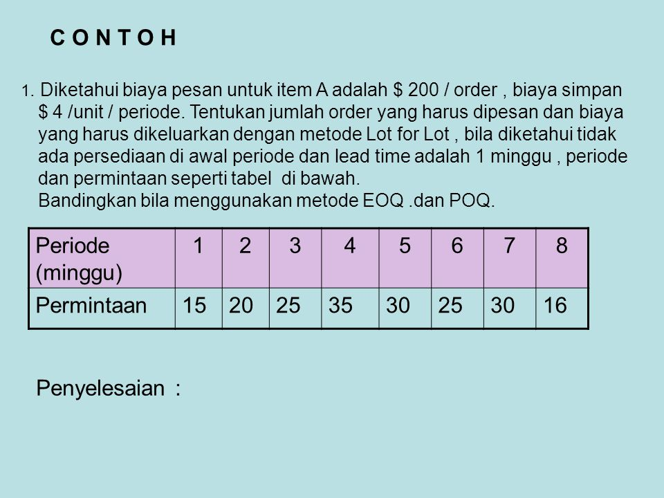 C O N T O H Periode (minggu) 1 2 3 4 5 6 7 8 Permintaan 15 20 25 35 30