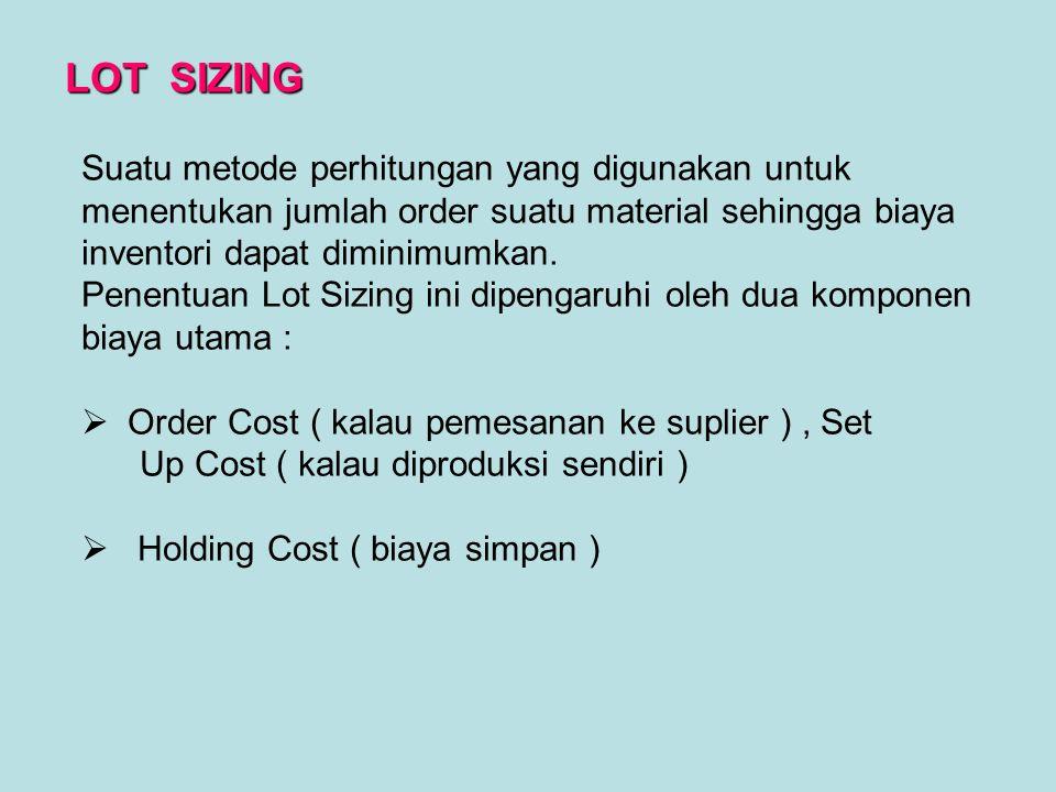 LOT SIZING Suatu metode perhitungan yang digunakan untuk menentukan jumlah order suatu material sehingga biaya inventori dapat diminimumkan.