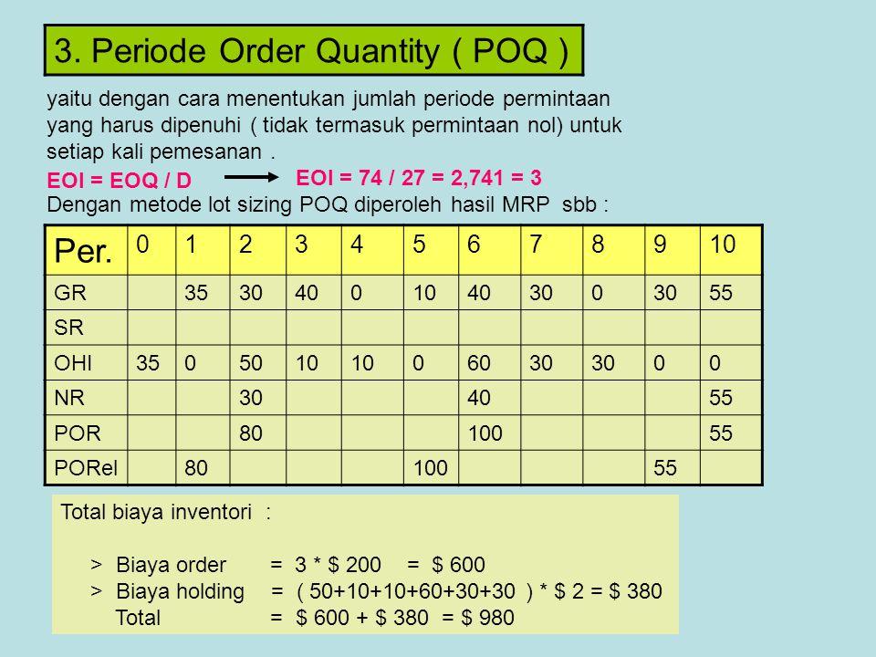 3. Periode Order Quantity ( POQ )