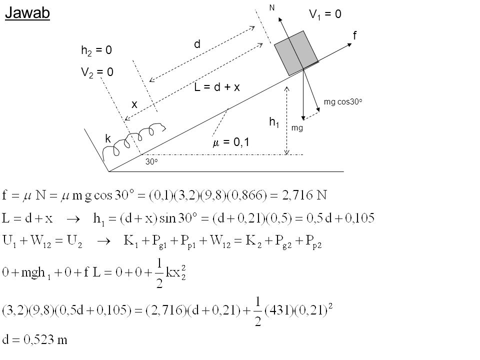 Jawab V1 = 0 d h2 = 0 V2 = 0 L = d + x k  = 0,1 30o f mg h1 mg cos30o