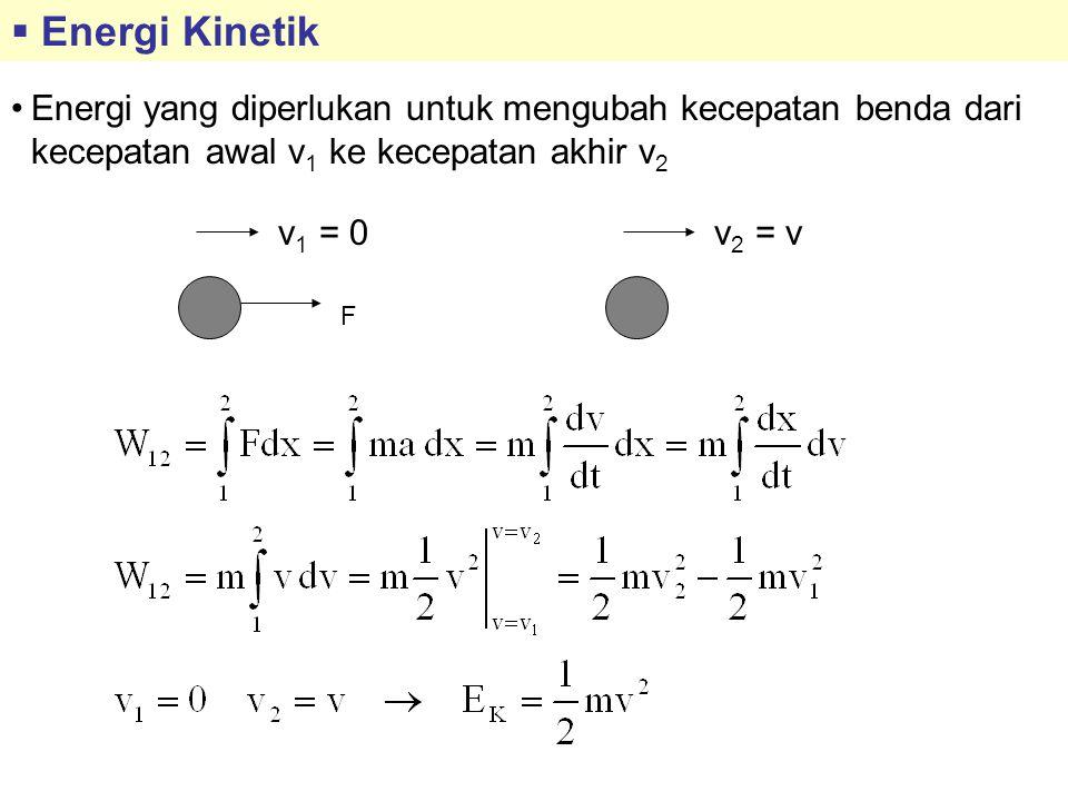 Energi Kinetik Energi yang diperlukan untuk mengubah kecepatan benda dari kecepatan awal v1 ke kecepatan akhir v2.