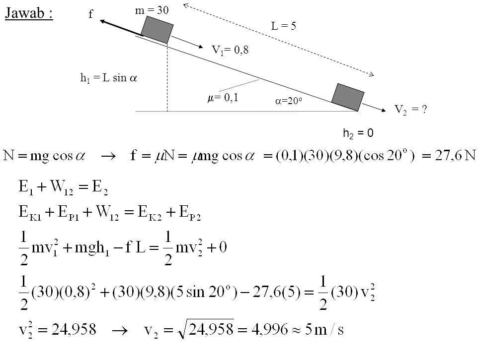 Jawab : L = 5 =20o = 0,1 m = 30 f V2 = V1= 0,8 h1 = L sin  h2 = 0