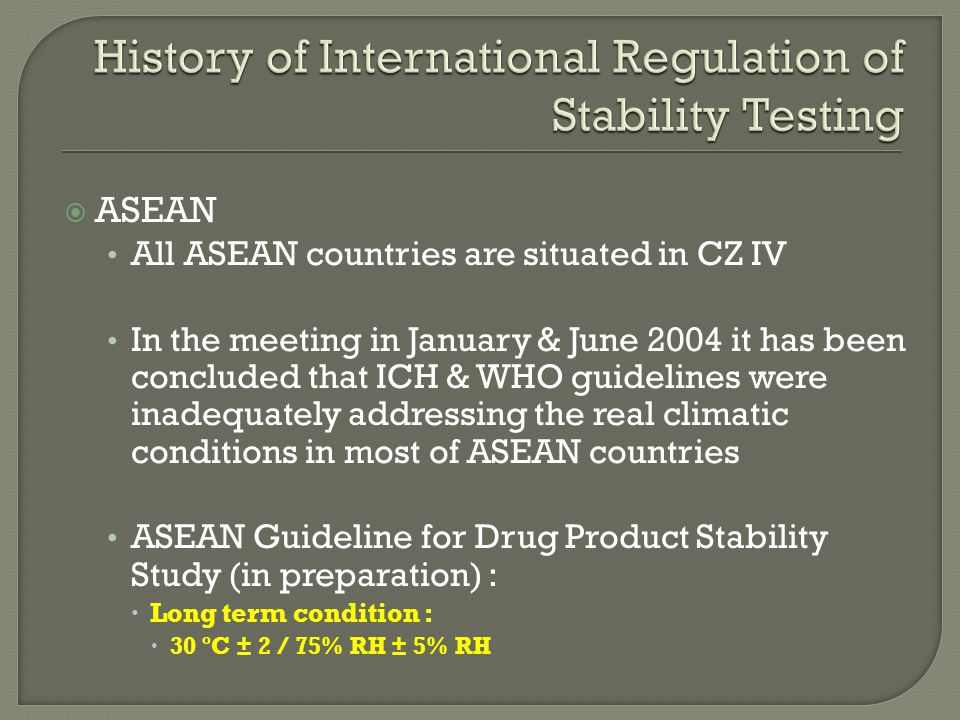 History of International Regulation of Stability Testing