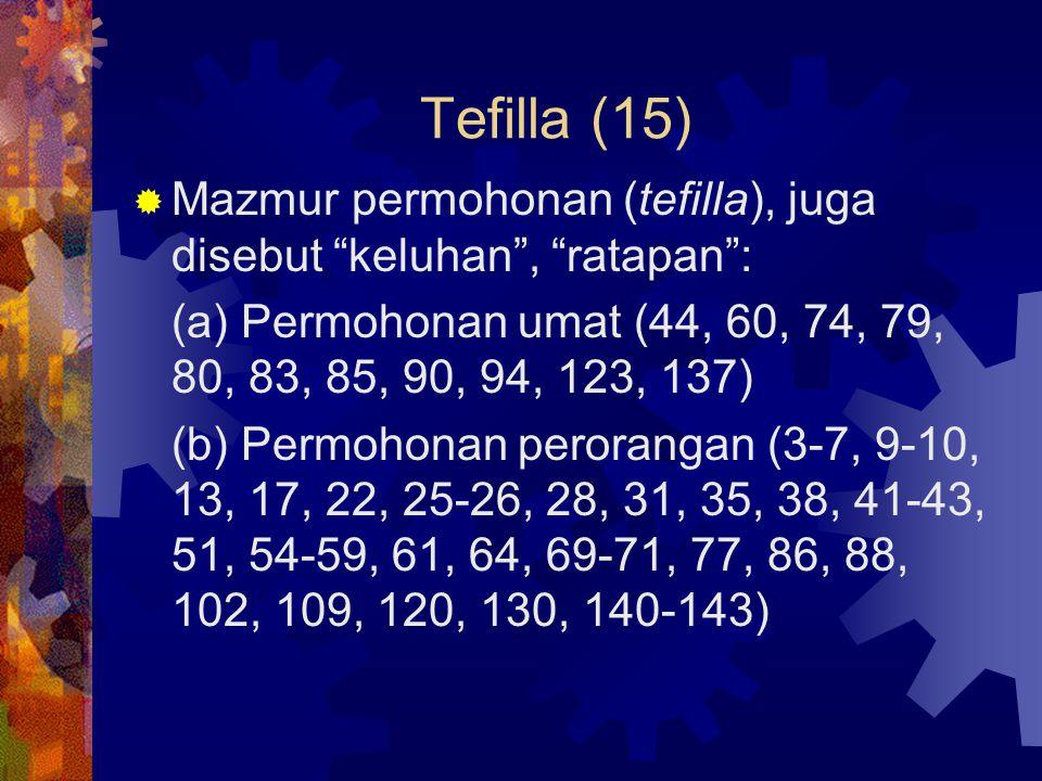 Tefilla (15) Mazmur permohonan (tefilla), juga disebut keluhan , ratapan : (a) Permohonan umat (44, 60, 74, 79, 80, 83, 85, 90, 94, 123, 137)