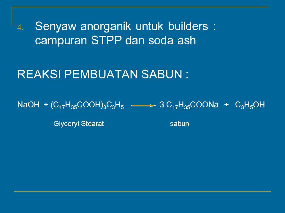 Senyaw anorganik untuk builders : campuran STPP dan soda ash