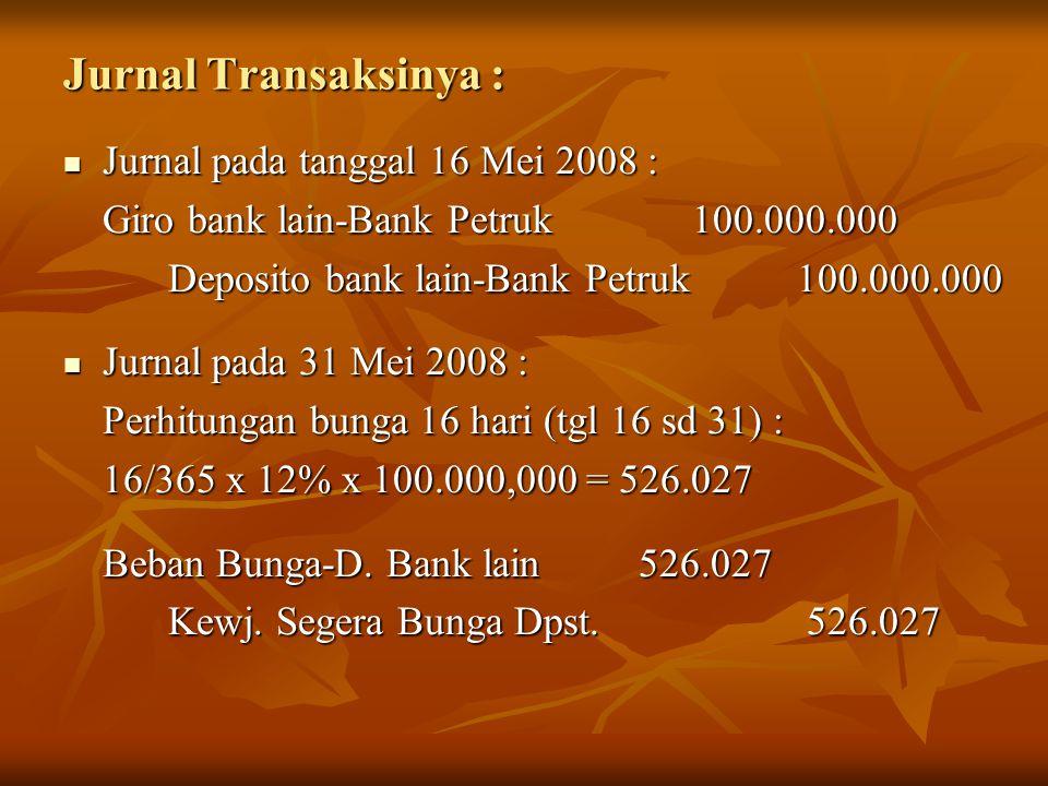 Jurnal Transaksinya : Jurnal pada tanggal 16 Mei 2008 :