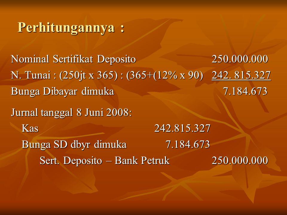 Perhitungannya : Nominal Sertifikat Deposito 250.000.000