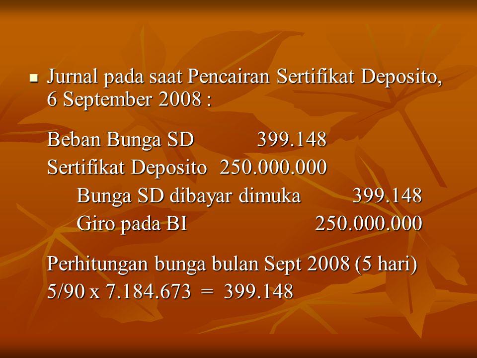 Jurnal pada saat Pencairan Sertifikat Deposito, 6 September 2008 :