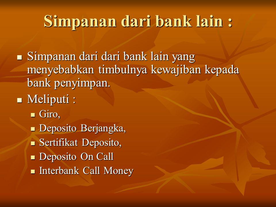 Simpanan dari bank lain :