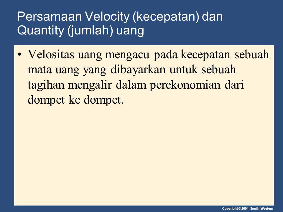 Persamaan Velocity (kecepatan) dan Quantity (jumlah) uang