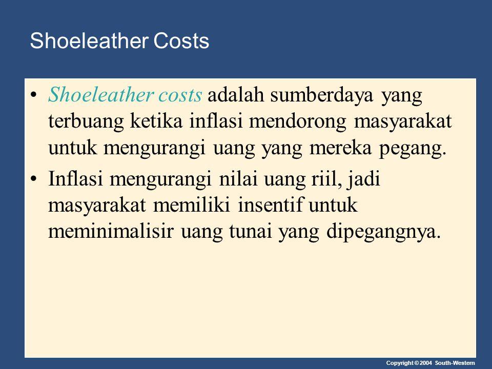 Shoeleather Costs Shoeleather costs adalah sumberdaya yang terbuang ketika inflasi mendorong masyarakat untuk mengurangi uang yang mereka pegang.