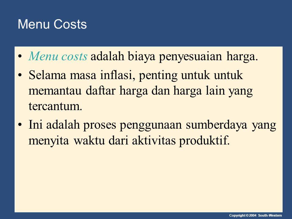 Menu Costs Menu costs adalah biaya penyesuaian harga. Selama masa inflasi, penting untuk untuk memantau daftar harga dan harga lain yang tercantum.