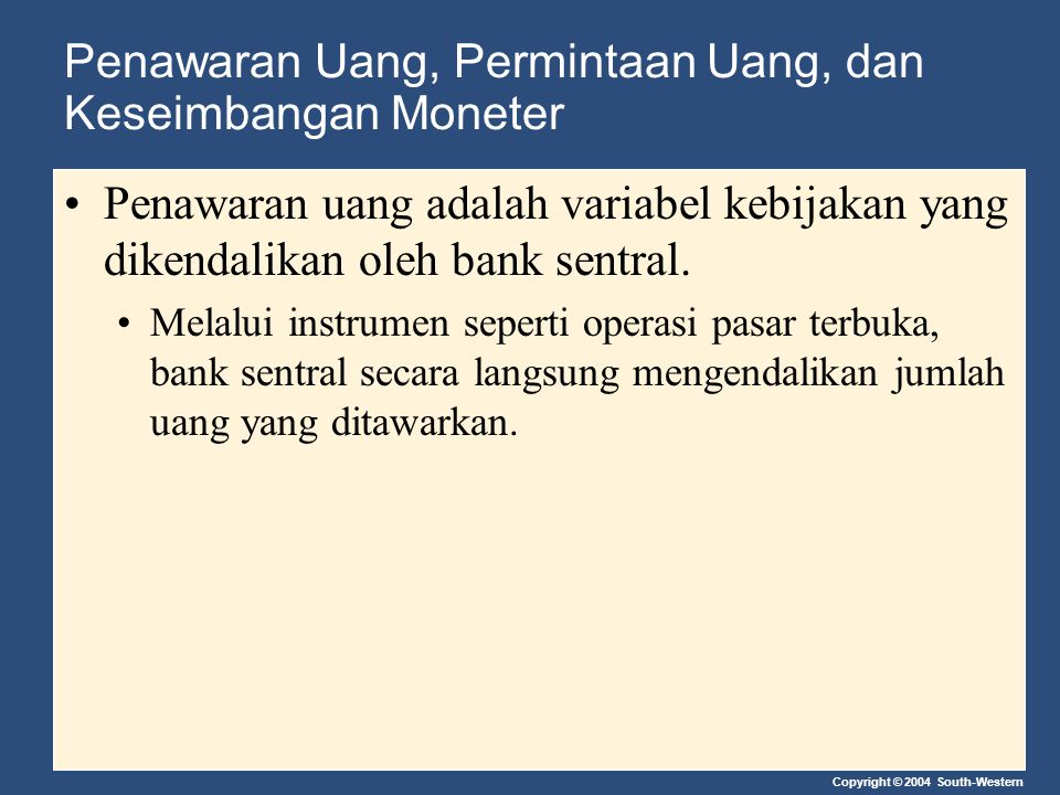 Penawaran Uang, Permintaan Uang, dan Keseimbangan Moneter