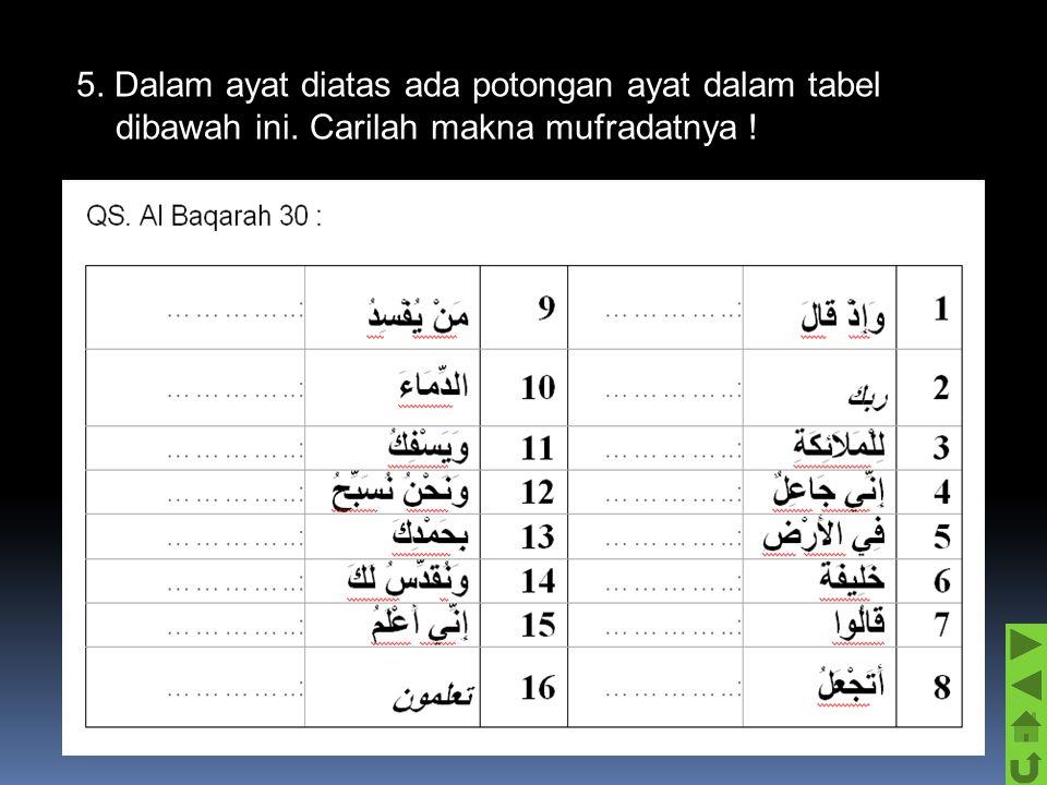 5. Dalam ayat diatas ada potongan ayat dalam tabel dibawah ini