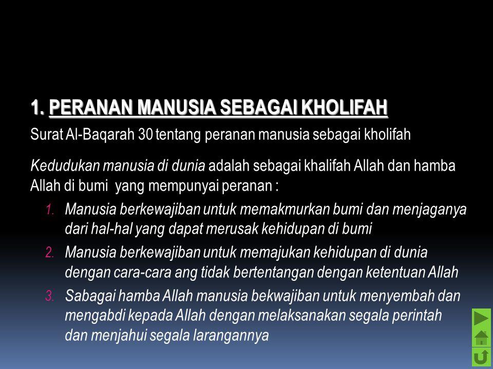 1. PERANAN MANUSIA SEBAGAI KHOLIFAH
