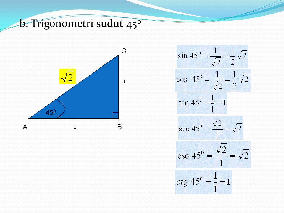 b. Trigonometri sudut 450 B A C 450 1 1