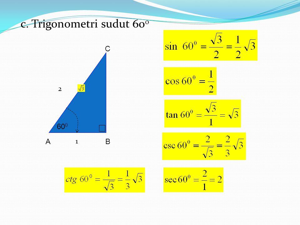 c. Trigonometri sudut 600 B A C 600 2 1
