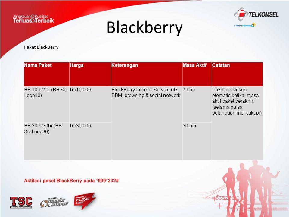 Blackberry Paket BlackBerry Nama Paket Harga Keterangan Masa Aktif