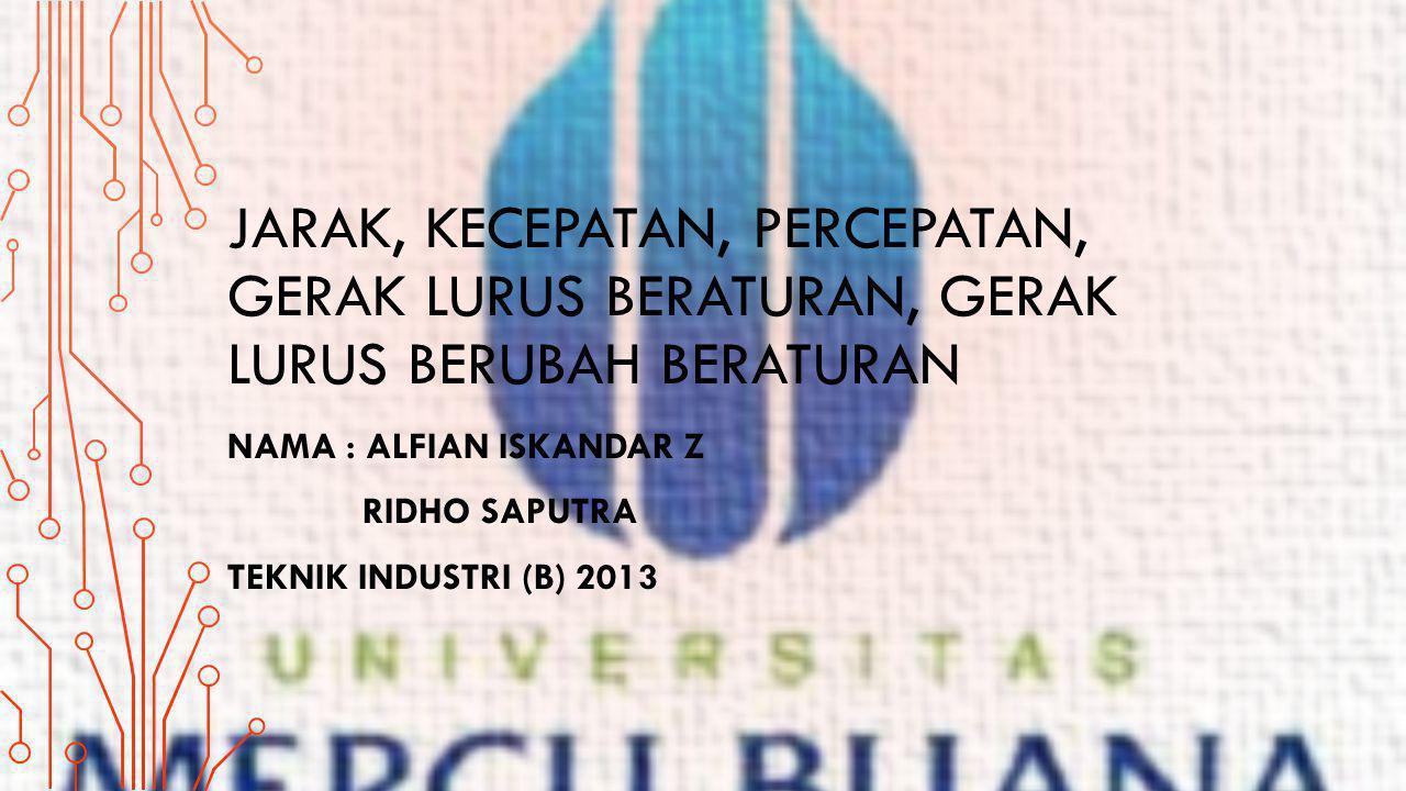Nama : Alfian Iskandar z ridho saputra Teknik Industri (B) 2013