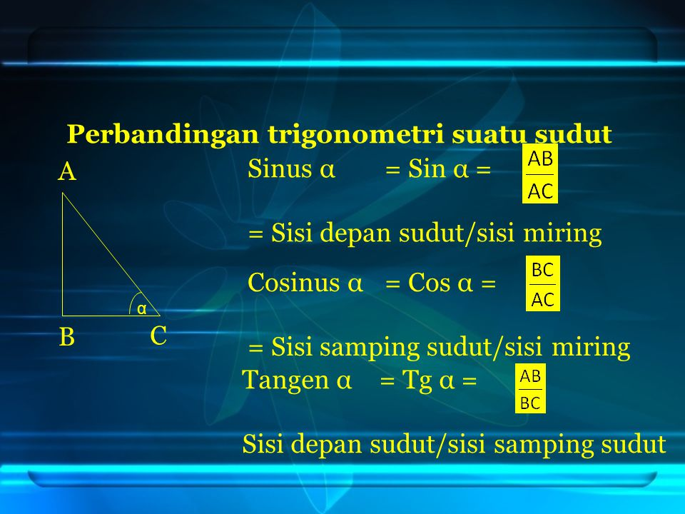 Perbandingan trigonometri suatu sudut Sinus α = Sin α =
