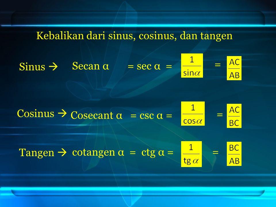 Kebalikan dari sinus, cosinus, dan tangen