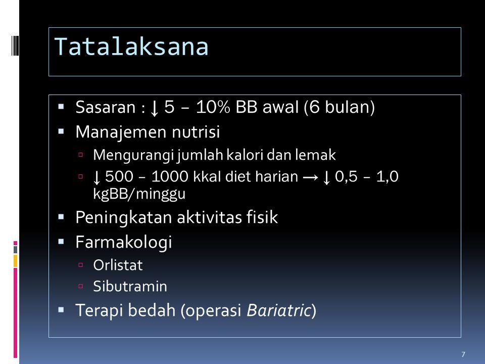 Tatalaksana Sasaran : ↓ 5 – 10% BB awal (6 bulan) Manajemen nutrisi