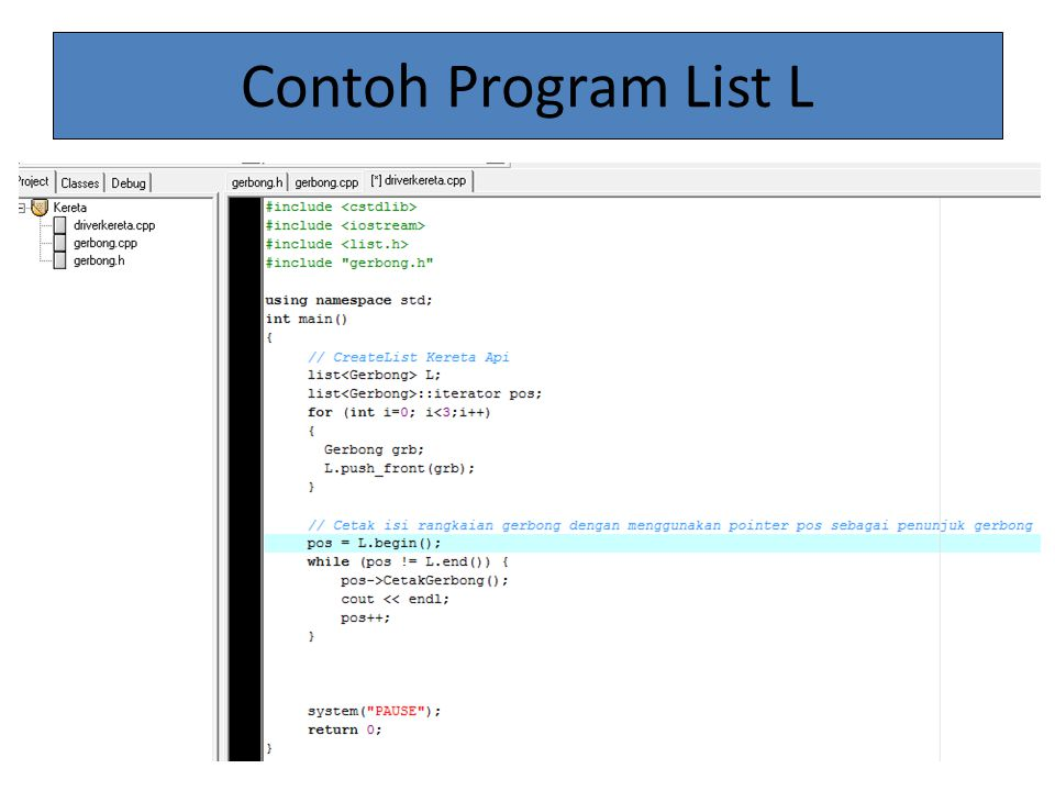 Contoh Program List L
