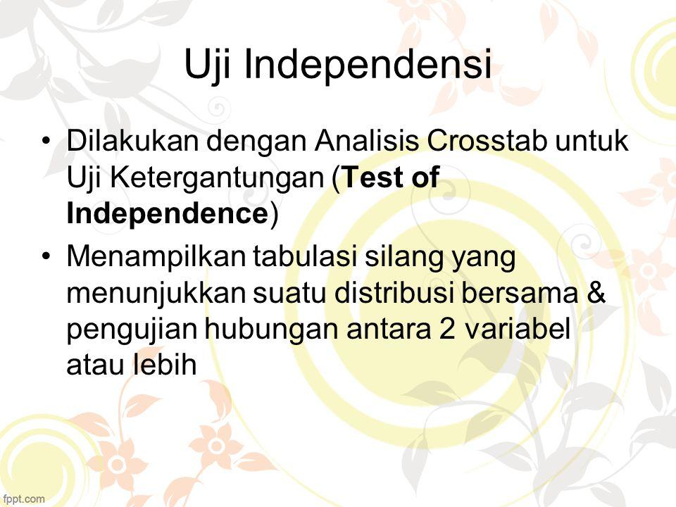 Uji Independensi Dilakukan dengan Analisis Crosstab untuk Uji Ketergantungan (Test of Independence)