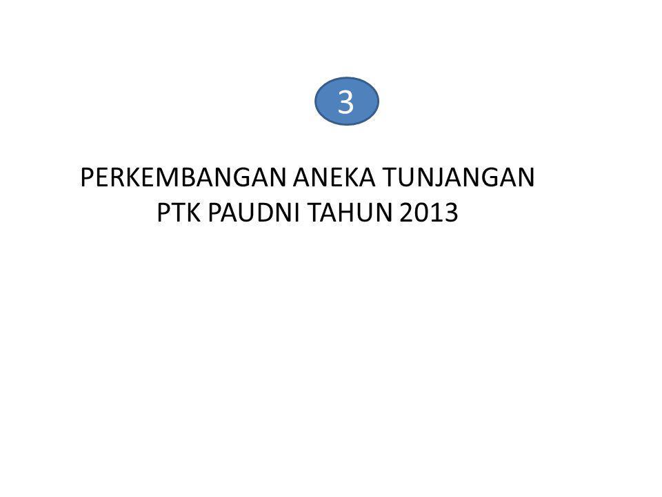 PERKEMBANGAN ANEKA TUNJANGAN PTK PAUDNI TAHUN 2013