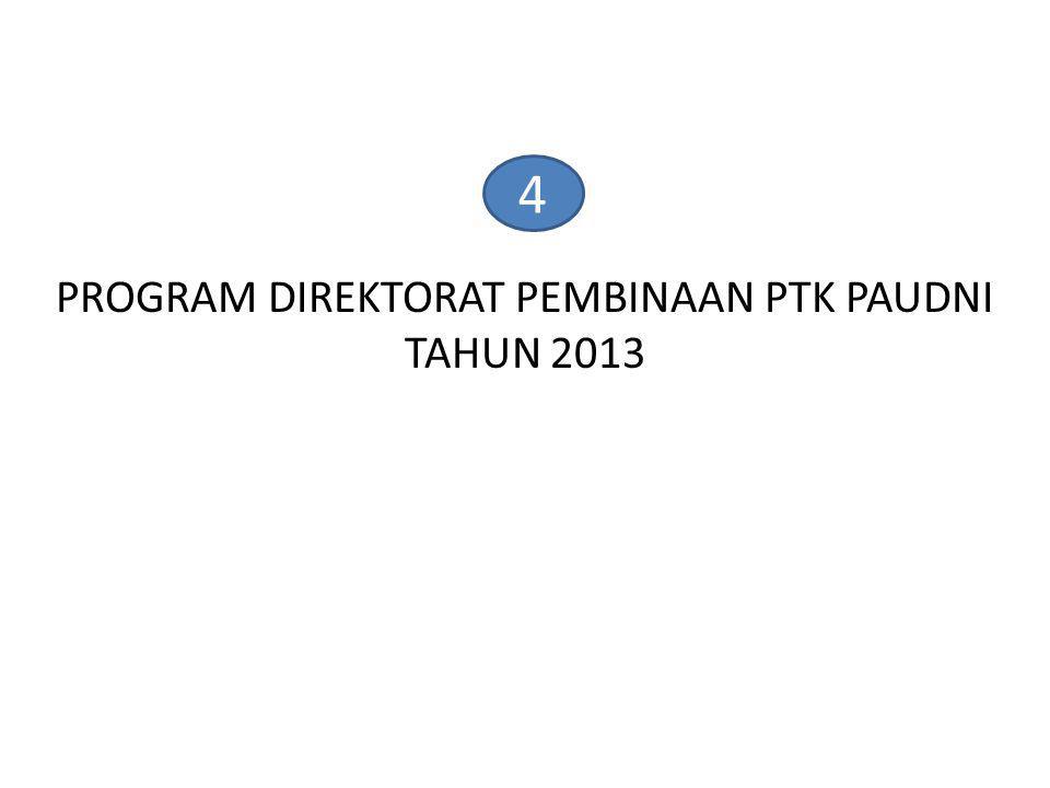 PROGRAM DIREKTORAT PEMBINAAN PTK PAUDNI TAHUN 2013
