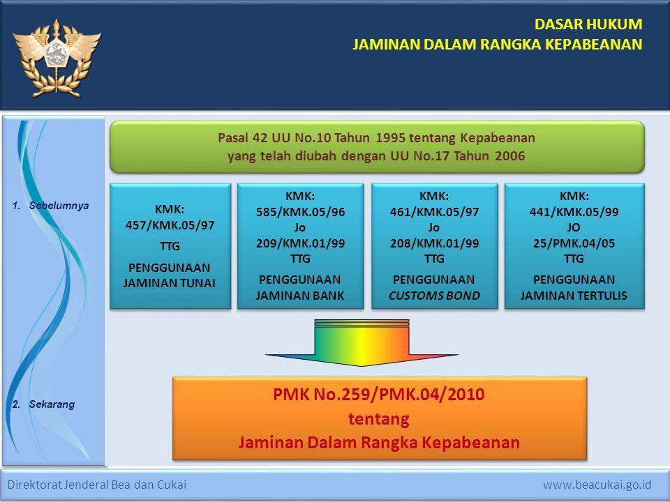 PMK No.259/PMK.04/2010 tentang Jaminan Dalam Rangka Kepabeanan