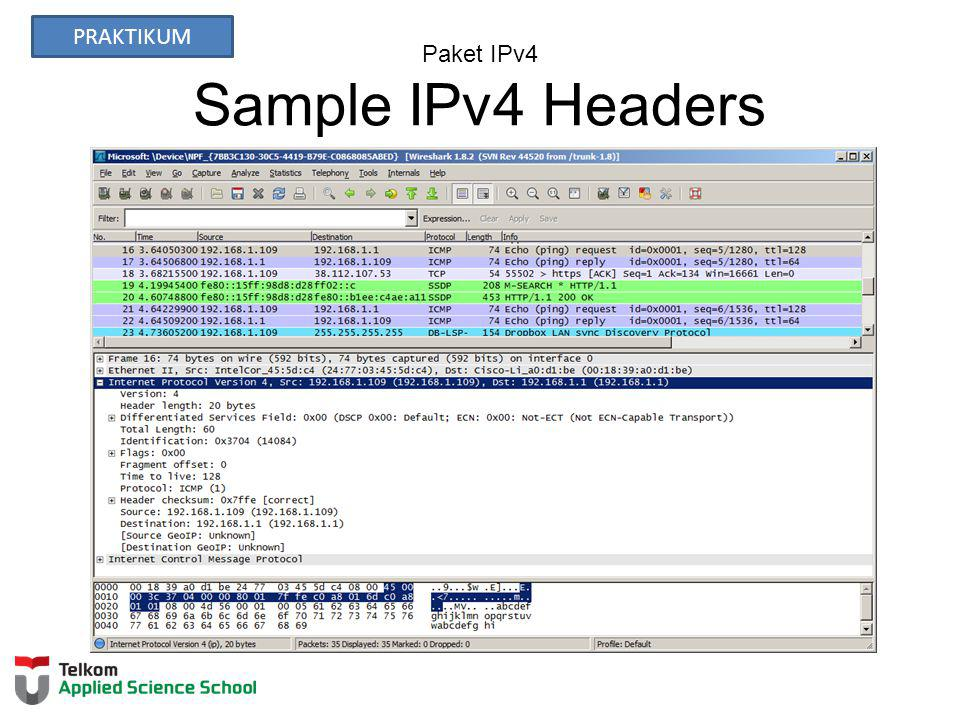 Paket IPv4 Sample IPv4 Headers