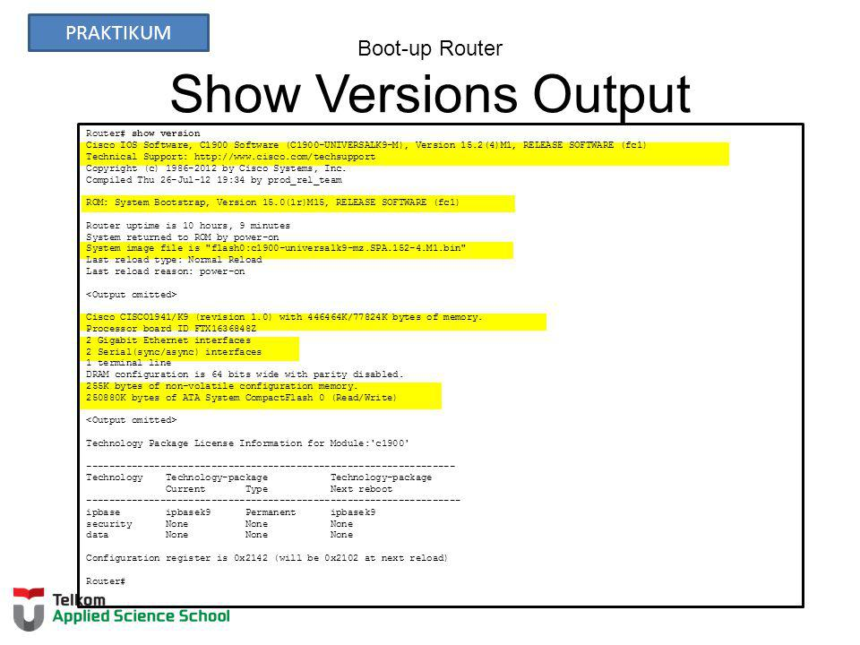 Boot-up Router Show Versions Output