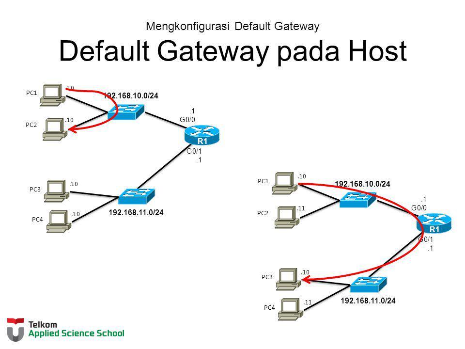 Mengkonfigurasi Default Gateway Default Gateway pada Host