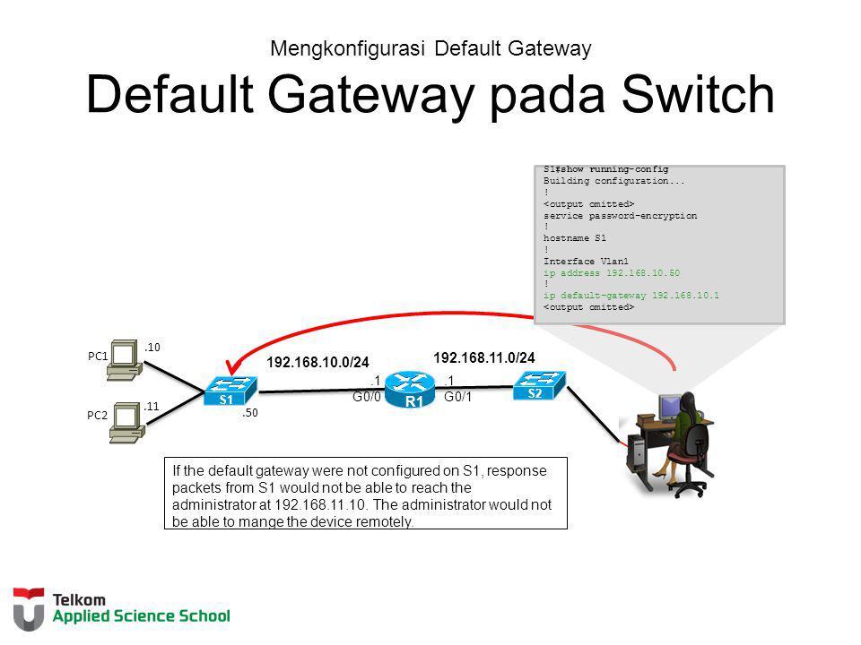 Mengkonfigurasi Default Gateway Default Gateway pada Switch