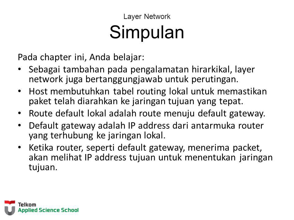 Layer Network Simpulan
