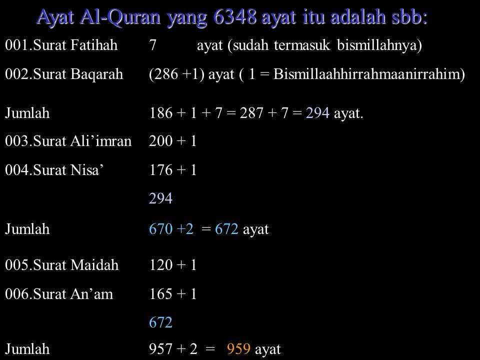 Ayat Al-Quran yang 6348 ayat itu adalah sbb: