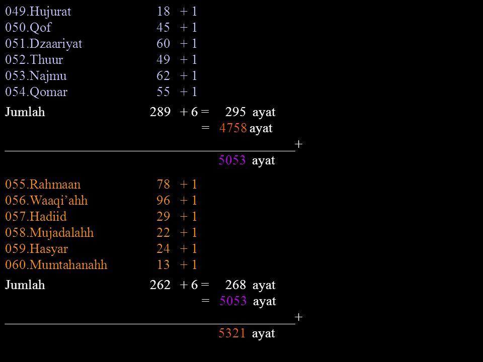 049.Hujurat 18 + 1 050.Qof 45 + 1. 051.Dzaariyat 60 + 1. 052.Thuur 49 + 1.