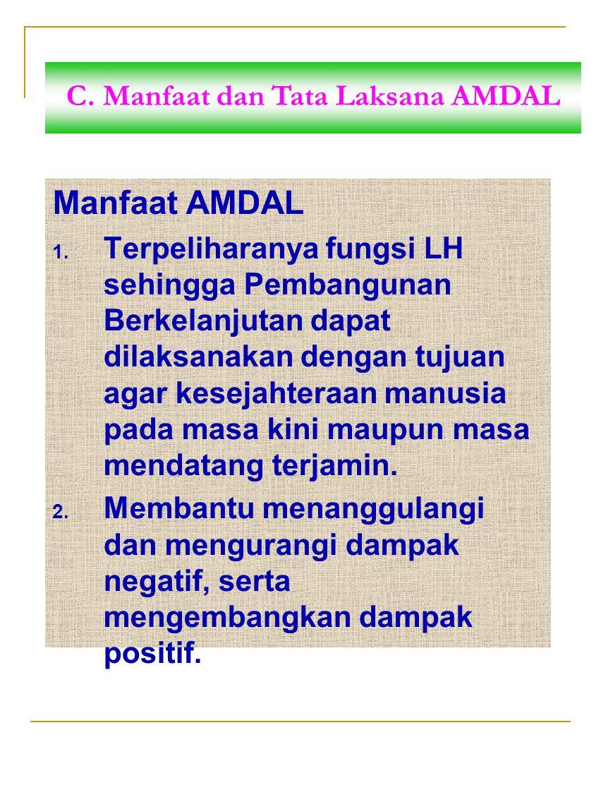C. Manfaat dan Tata Laksana AMDAL