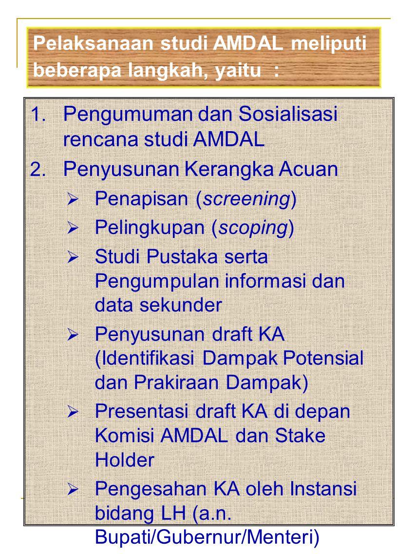 Pengumuman dan Sosialisasi rencana studi AMDAL