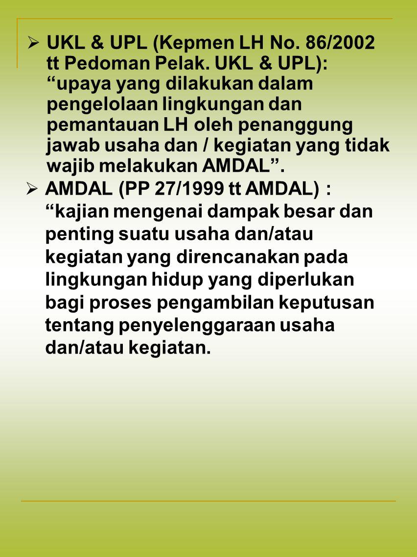UKL & UPL (Kepmen LH No. 86/2002 tt Pedoman Pelak