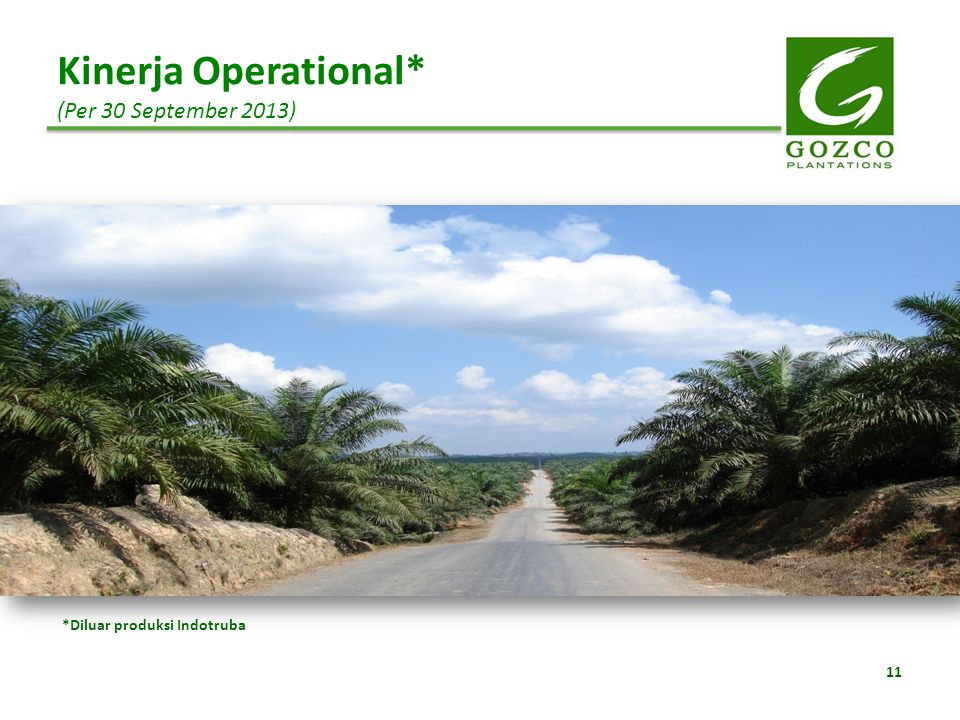 Kinerja Operational* (Per 30 September 2013)
