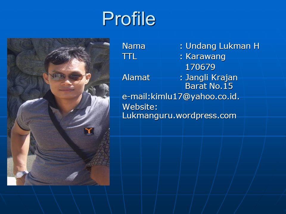Profile Nama : Undang Lukman H TTL : Karawang 170679