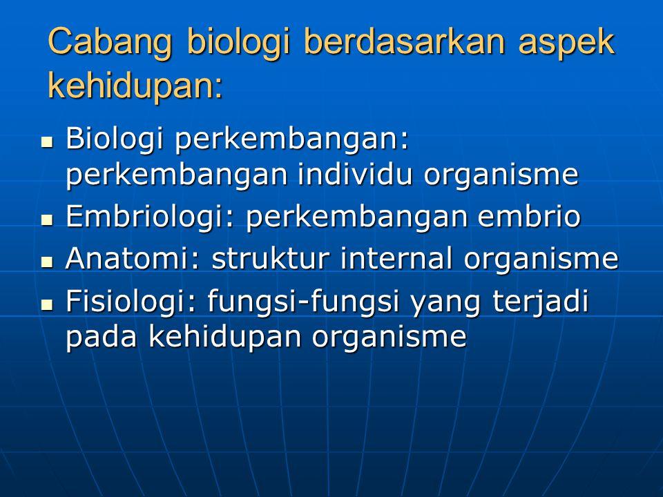 Cabang biologi berdasarkan aspek kehidupan: