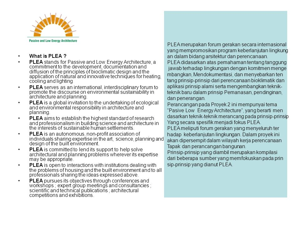 PLEA merupakan forum gerakan secara internasional