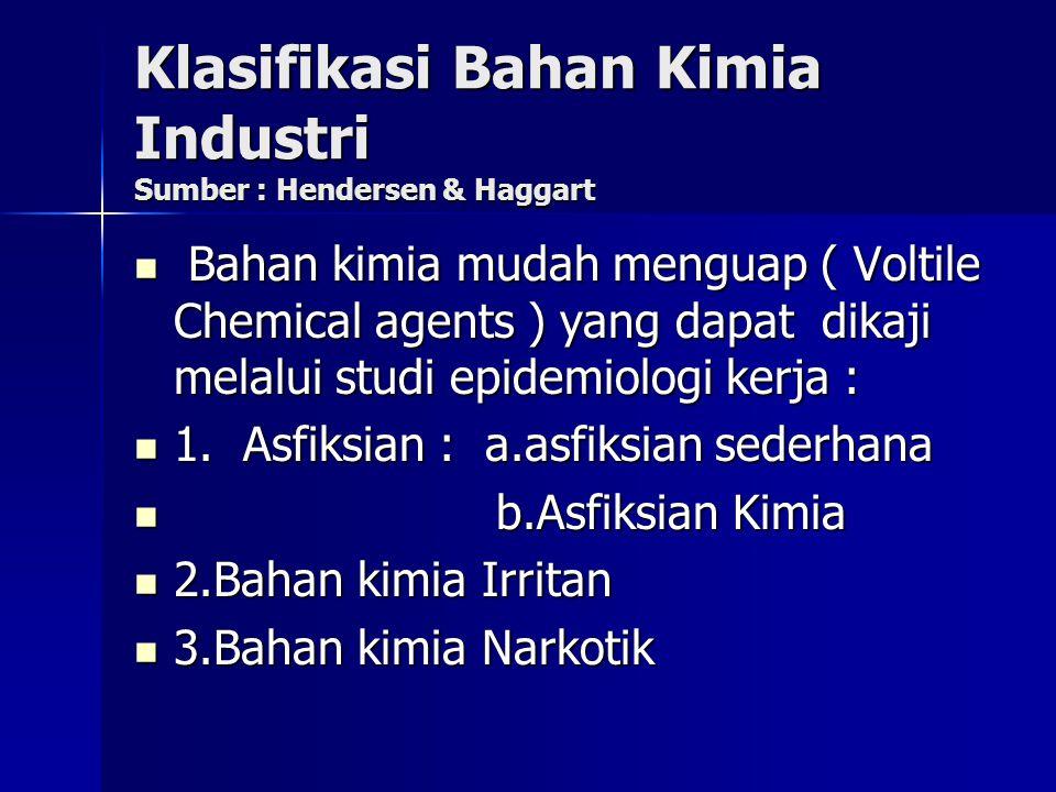 Klasifikasi Bahan Kimia Industri Sumber : Hendersen & Haggart