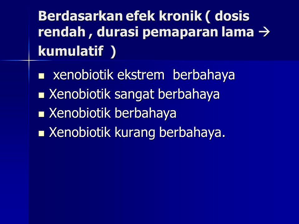 Berdasarkan efek kronik ( dosis rendah , durasi pemaparan lama  kumulatif )