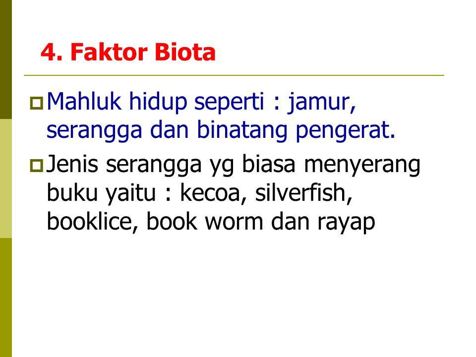 4. Faktor Biota Mahluk hidup seperti : jamur, serangga dan binatang pengerat.