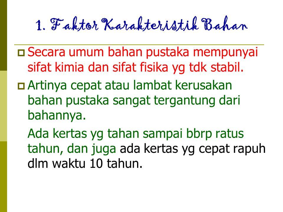 1. Faktor Karakteristik Bahan